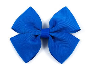Blue Hair Bow, Royal Blue Hair Bow, Royal Blue Bow, Royal Blue Double Tuxedo Bow, Royal Blue Hair Clip (Item #10426)