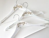 Personalized Hand Lettered CALLIGRAPHY BRIDESMAID HANGER - One (white, three lines)