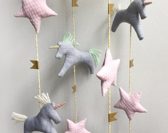 Unicorn and stars mobile, Stars, kids, baby nursery, babyroom, babygift, bedroom decor, babyshower