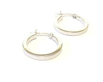 """Sterling Silver Square Tube Hollow Hoop Earrings 3/4"""""""