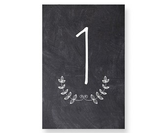 Frante Black Chalkboard Table Numbers - Black Chalkboard Number Cards - Both Sides - Wedding Table Numbers with Black Chalkboard #TN213B
