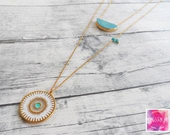 Boho necklace, turquoise necklace, jewelry set, layering necklace, evil eye necklace, summer necklace gemstone, gold necklace, layered, gift