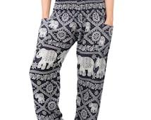 Thai Harem Elephant Pants Comfy Yoga Pants Baggy Pants Aladdin Pants Boho Pants Gypsy Pants Beach Pants (PA102ELCH-BLA)