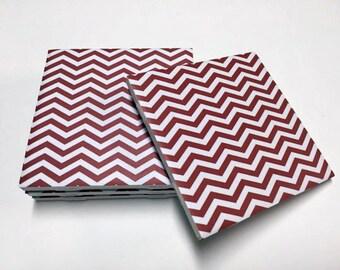 Red Chevron Coasters - Chevron Home Decor - Drink Coasters - Tile Coasters - Ceramic Coasters - Table Coasters On Sale