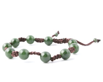 Canadian Nephrite Jade Bead Bracelet, 10mm