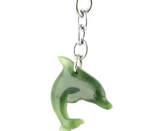 Canadian Nephrite Jade Key Chain, Dolphin