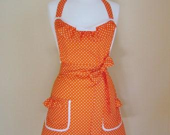 Retro Apron/1950s Style Apron/Vintage Style Apron/Apron/Orange Polka Dot Apron/Polka Dot Apron/Womens Apron/Orange Apron/ Handmade Apron