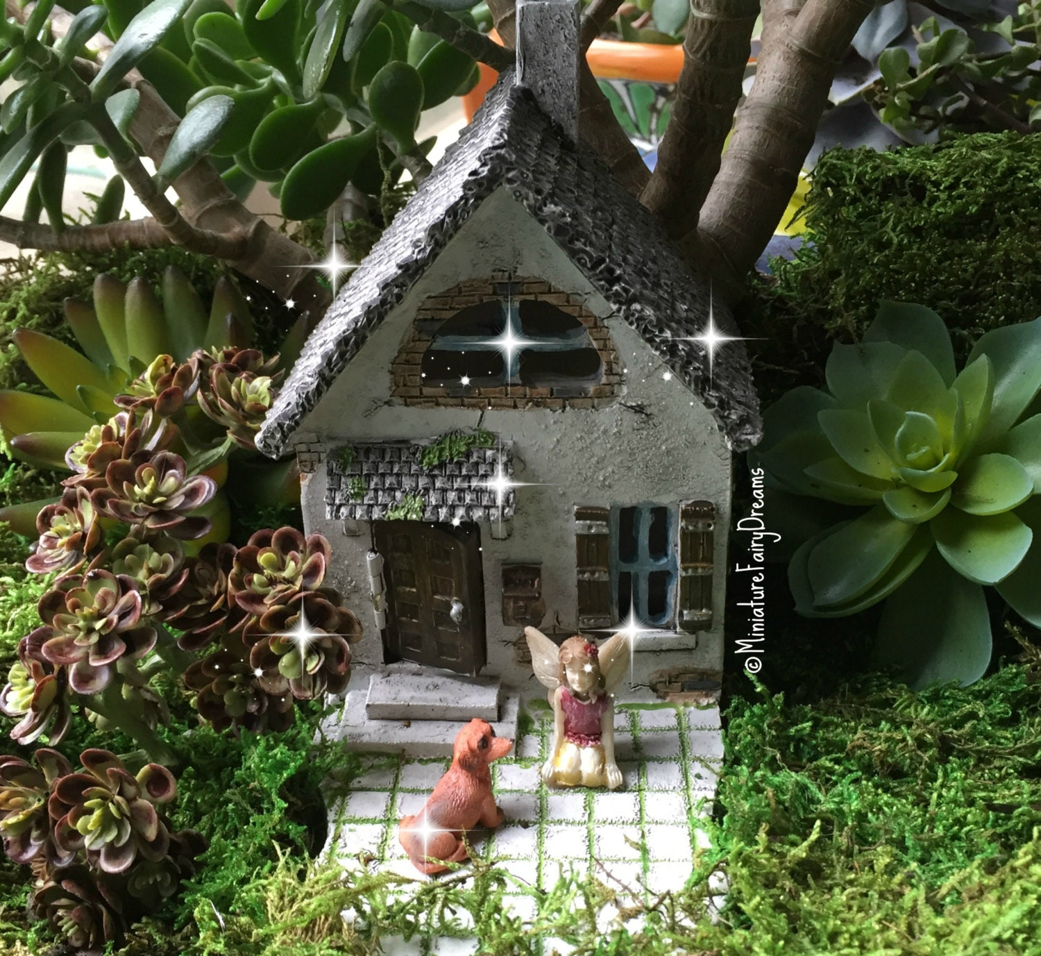 fairy garden house fairy garden cottage tiny fairy house. Black Bedroom Furniture Sets. Home Design Ideas