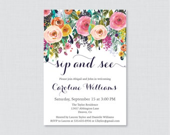 Floral Sip And See Invitation Printable or Printed - Flower Welcome Baby Invites with Colorful Flowers - Shabby Chic Sip n See Invite 0025-B