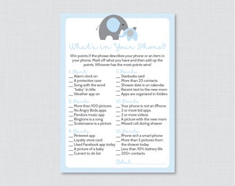 Elephant Baby Shower What's in Your Phone Game - Printable Phone Raid Game - Blue Elephant What's in Your Phone Game - 0024-B