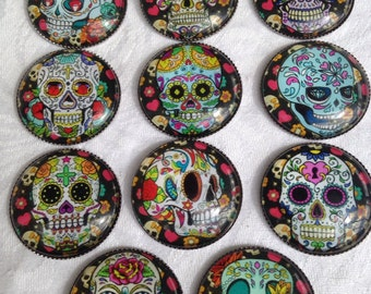 Sugar Skull Magnets Set of 6 ~ Teacher Gift, Housewarming Gift, Party Favor, Stocking Stuffer, Office Gift, Day of the Dead Magnet