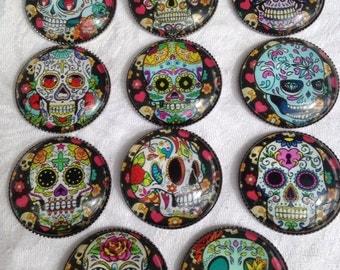 Sugar Skull Magnets Set of 6 ~ Teacher Gift, Housewarming Gift, Party Favor, Stocking Stuffer, Office Gift, Day of the Dead Magnet