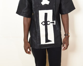MEN  African Shirt  - BLACK and WHITE