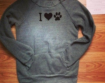FTLA Apparel Eco Friendly Off The Shoulder Sweatshirt, I Heart Paw, Eco Fleece, Hand Screen Printed, Adopt Don't Shop, Vegan Sweater, Love