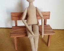"Primitive 14"" linen cloth rag doll body, tall and skinny doll form light gray ragdoll, fabric doll, cloth doll, handmade doll, Ragsoul"