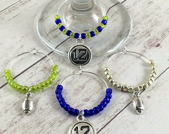 Football Wine Glass Charms - 12th Man Football Wine Charms - Wine Drink Tags - Wine Gifts - Wine Charm Set - Football Wine Tag - Wine Favors