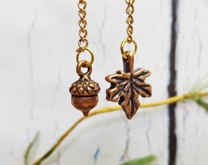 First Day Of Fall ~ Autumn Copper Leaf Mismatched Earrings ~ Trendy Fall Jewelry For Huntress, Outside Girl, Camping Queen, Nature Lover