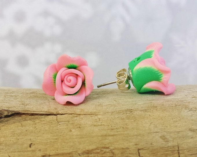 Soft Pink Rose Stud Earrings ~ Tiny Rosebud Jewelry for Bridal Party, Valentines Day Gift, Engagement Present, Birthday Gift for Best Friend