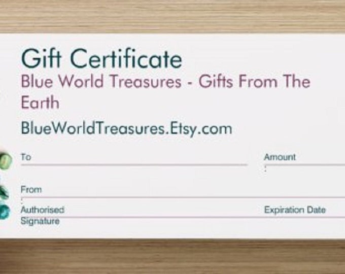 Gift Certificate 25 dollars ~ You can print or email Last Minute Gift for Valentines, Engagement, Birthday, Anniversary, Wedding, Graduation