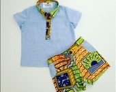 LAST ONE age 5-6y Boys African Kente Print and blue chambray T-shirt Tee and Shorts set