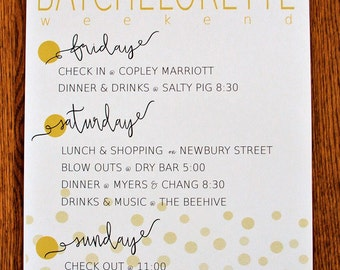 Bachelorette Itinerary Poster - Personalized & Printed