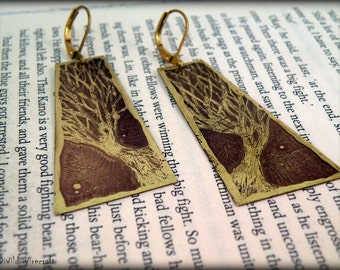 Growing tree of life Etched earrings, Dangle & Drop Earrings, Brass earrings, Long Earring, boho earring,  Etched Brass, Artware, Hand drawn