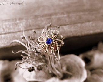 Ink Blue Flower Faux nose ring/Fake Nose Ring/Wire Wrapped jewelry/Handmade/Brass Nose Ring/Body Jewelry/Free Combined Shipping/Nose Clip on