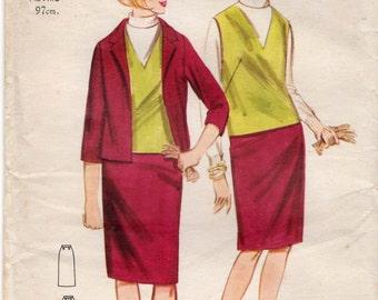 """Vintage sewing pattern Butterick 3369 Misses' Jacket, Vest and Skirt Bust 36"""""""
