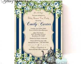 Boy Baby Shower Invite  - Baby Boy Tea Party Invitation - Navy Blue Stripes Vintage Blue Floral - Printable OR Printed No.893BABY