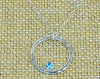Sterling Silver Blue Zircon Necklace, Mothers Necklace, Mom Necklace, December Birthstone Necklace, Blue Zircon Necklace, Mother's Necklace
