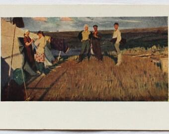 "Artist Mochalskiy. Vintage Soviet Postcard ""Admirers"" - 1958. Sovetskiy hudozhnik. Guys, Girls, Field, Landscape, Courtship"