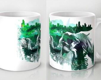 elephant mug, coffee mug, mom gift, teacher gift, elephant gift,  ceramic mug, mug gift, kids mug, hostess gift, coworker gift, african art
