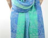 Pashmina Scarf Paisley Scarf Infinity Scarf Blue Green Scarf Shawl Wrap Girlfriend Gift Mothers Day Gift For Mom Christmas Gift For Her