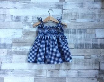 Gingham Summer Dress | Shirred Navy Sundress | Baby Girls Dress | Gingham Pattern | Checkered Dress