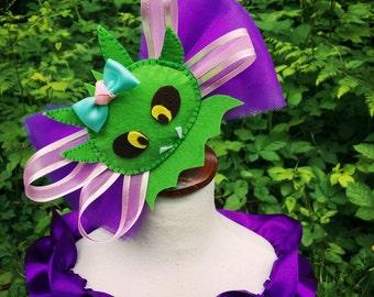 Green dragon headband/puff the magic dragon/dragon hairbow