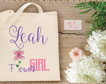 Personalized Flower Girl Wedding  Tote Bag  / Flower Girl Gift - Bridal Party Totes
