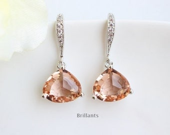 Champagne glass earrings, Peach earrings, Bridesmaid jewelry, Everyday earrings, Wedding earrings