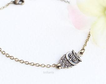 Antiqued Owl bracelet, Bird bracelet, simple, minimal, dainty bracelet