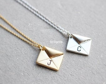 Personalized Initial envelope necklace, Love Letter necklace, Everyday necklace, Bridesmaid gift, Wedding necklace