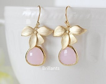 Orchid flower and Pink Stone earrings, Bridesmaid earrings,Wedding earrings, Everyday earrings, Wedding earrings