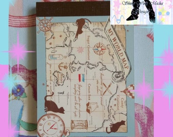 My World Map Kitty Mini Notepad