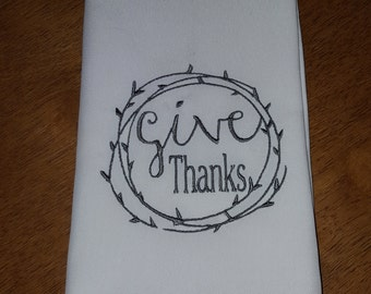Give Thanks Circle Cloth Napkins -  Set of 4