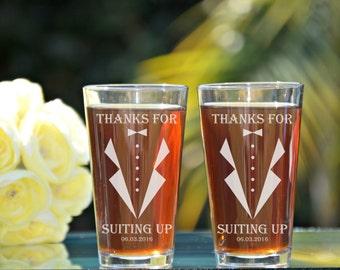 Set of 4 Groomsmen Pint Glasses, Groomsman Pint Glass, Suit Up, Suit Up Pint Glasses, Thanks for Suiting Up, Personalized Pint Glasses, Beer
