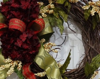 Christmas Grapevine Wreath-Christmas Wreath with Dark Red Hydrangea and Beige Berries. Front Door Wreath-Christmas Gift