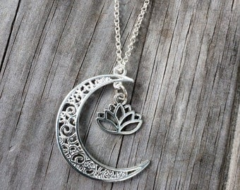 Lotus and Moon charm necklace, Necklace, Moon necklace, Boho Necklace, Indie Necklace
