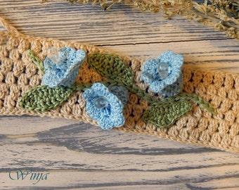 Crochet bracelet, bluebell flower bracelet, wrap bracelet, braided bracelet, linen bracelet, boho textile bracelet, romantic jewelry