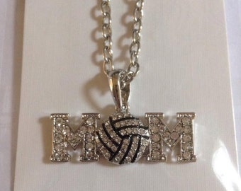 Volleyball rhinestone pendant with chain necklace