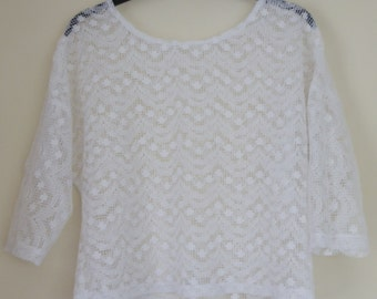 Vintage White Lace See Through Short Top with Half Sleeves Size Small
