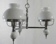 French chandelier. Silver and white 3 arm glass chandelier. 3 stem chandelier. ceiling light. French vintage lighting. 1950's