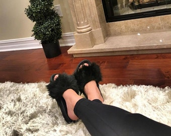 SL Fluffy Slides Name Blk Tulip Color Black  Faux Fur Slippers Fashion Sandals